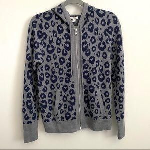 Gap Leopard Print Hooded Cardigan Sweater